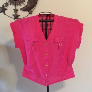 Milano brilliant pink with gold trim top size m